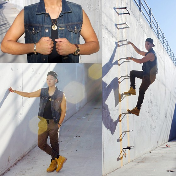 Gary Agunos - Michael Kors Gold Watch, Rue21 Crucifix, J Brand Gold Bracelet, Timberland Tims, Cotton On Joggers, Levi's® Jean Jacket, Diamond Supply Snap Back - In Their Eyes
