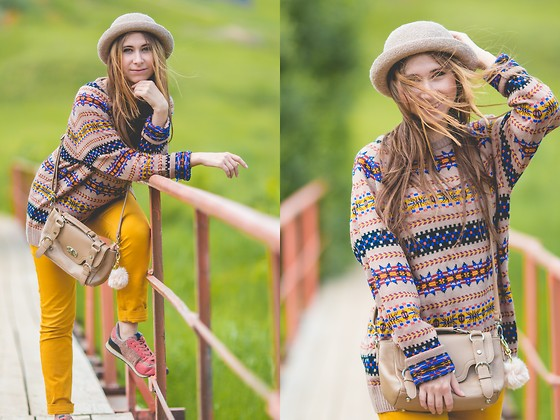 Anna Sever - Topshop Hat, Zara Pants - Multicolor sweater