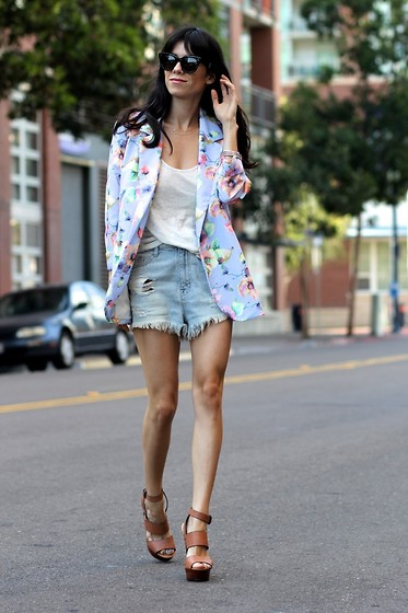 Lucia Mouet - Celine Sunglasses, Lulus Blazer, Urban Outfitters Shorts, Steve Madden Heels - GIRLY