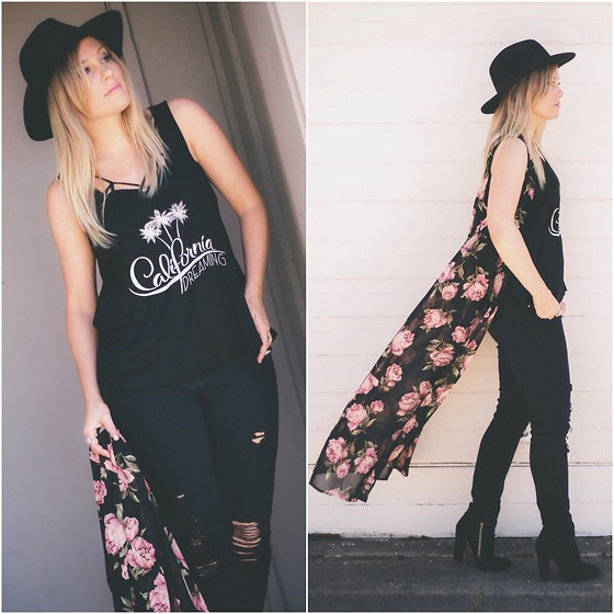 Kari Jane Ballesteros - Tillys Floral Duster, Shop Riverland Graphic Tank, H&M Black Hat, Forever 21 Black Ripped Jeans - California Dreaming