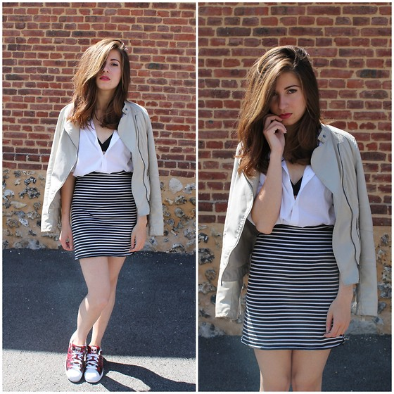 Elo' Cupcake - Fashion Pills Fringe Jacket, H&M Blouse, Jennyfer Skirt, Adidas Sneakers - Study in duality