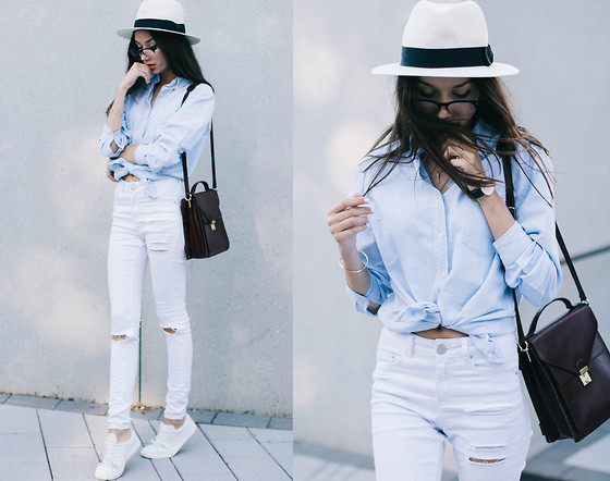 Bea G - Shirt, Jeans, Hat, Bag, Shoes - Blue on White
