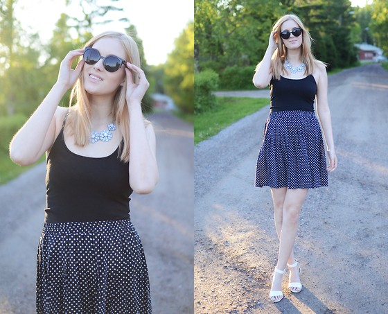 Anna K - Ebay Sunglasses, Bikbok Top, Ginatricot Necklace, Second Hand Skirt, Dinsko Shoes - Summer holiday