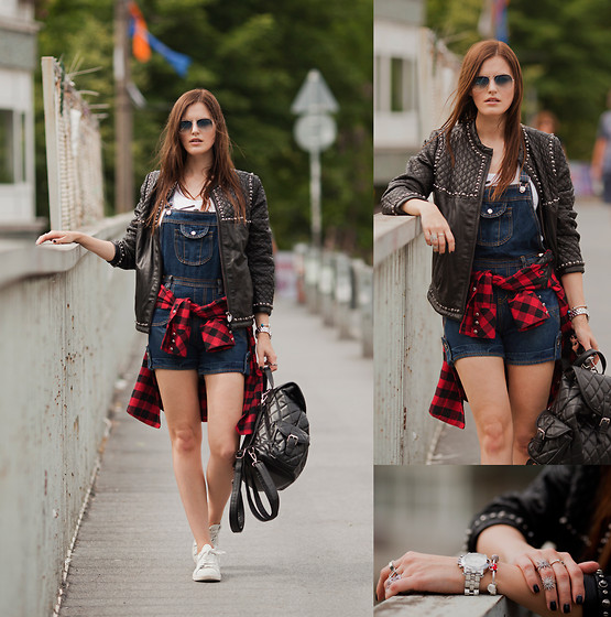 Viktoriya Sener - Les Eclaires Leather Jacket, Les Eclaires Shirt, Oasap Romper, Chicwish Backpack, Mango Trainers, Ray Ban Sun Glasses, Soufeel Bracelet - EASYGOING