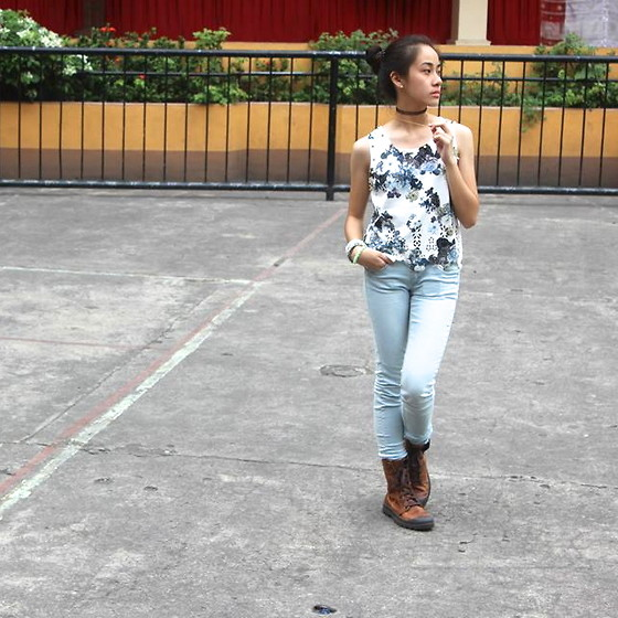 Yumi Yupangco - H&M Light Blue Jeans, Palladium Brown Boots - Floral Haven