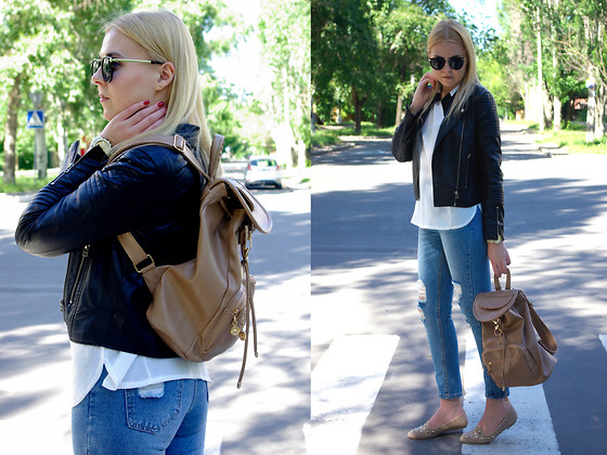 Kate F - Romwe Jeans, Elitefashion99 Chiffon Blouse, Oasap Beige Backpack, London Rebel Loafers - Sunday