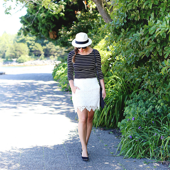 Alexandra G. - Aritzia Straw Fedora, H&M Striped Top, Joe Fresh Lace Skirt - Lace and Stripes