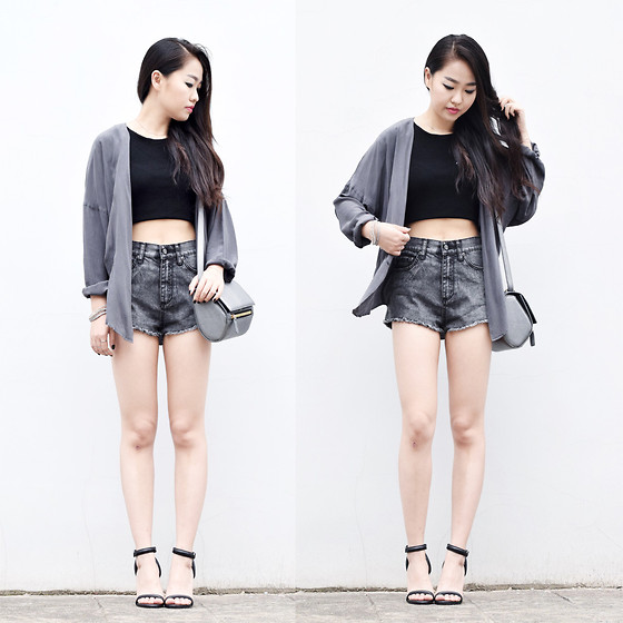 Meijia S - Vintage Shirt, Cheap Monday Shorts, Mango Cropped Top, Alexander Wang Heels - Grey & black