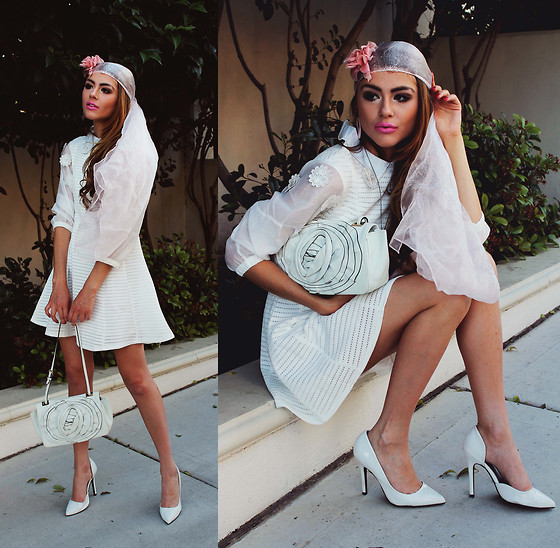 Bebe Zeva - Chicwish Lace Applique White Dress, Valentino Flower Bag, Daily Look Patent Heels - Angel wing