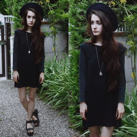 Anna Garavello - Thrifted Hat, Okaidi Long Sleevees Dress, Platform Sandals, Crystal Necklace - Witchy