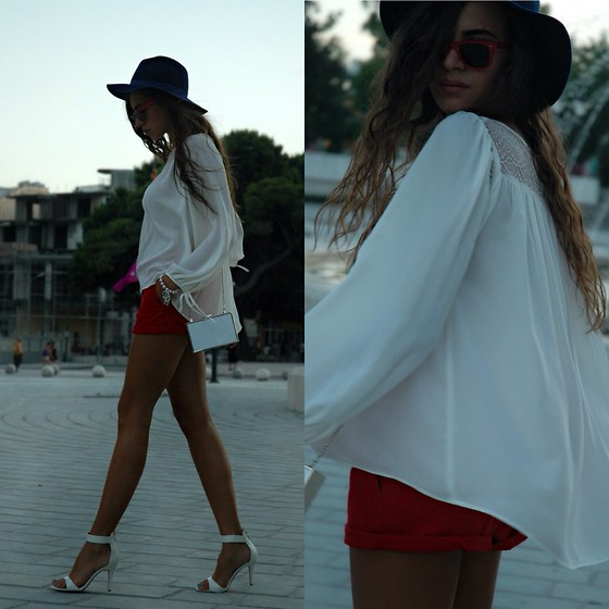 Fransi - H&M Shorts, H&M Shirt, Ray Ban Sunglasses, Stradivarius Hat - Summer evenings