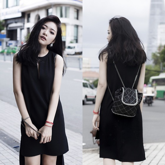 Nga Wendy -  - Open chest high-low black dress