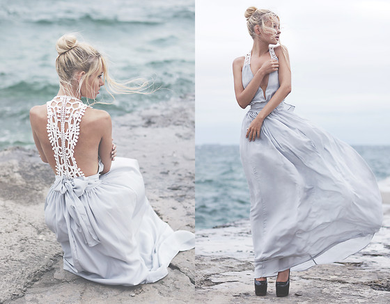Krist Elle - Sheinside Grey Maxi Dress - THERE'S A STORM ON THE STREETS, BUT YOU STILL DON'T RUN
