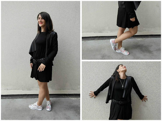 P&P Nororre - Spartoo Jacket, Boohoo Dress, Boohoo Sneakers - Black dress and snake