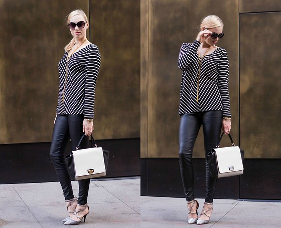 Caity Shreve - Michael Kors Striped Tunic, Bcbg Faux Leather Leggings, Boohoo Snake Skin Heels, Kate Spade Black & White Handbag - Stripes + Faux Leather