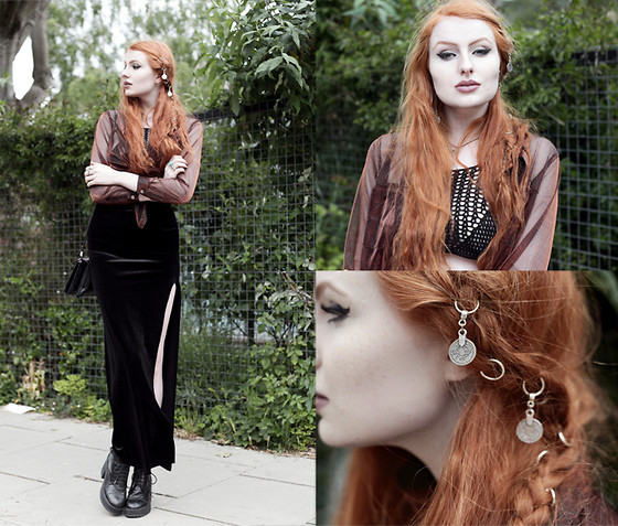 Olivia Emily - Evil Twin Sheer Metallic Shirt, Regalrose Crochet Crop Top, Boohoo Velvet Split Maxi Skirt, Asos Lace Up Boots, Regalrose Coin Hair Rings - Copper & Black