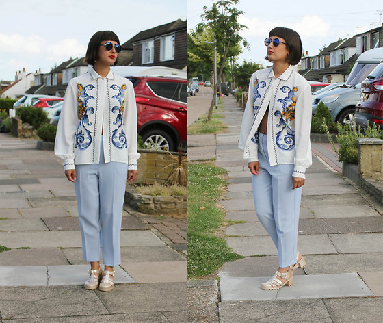Cassy Bhairo - Charity Shop Printed Shirt, Topshop Round Sunglasses, Missguided Peg Leg Trousers, Juju Jelly Shoes - Missguided Blue Trousers & Charity Shop Printed Shirt