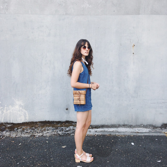 Tonya S. - Denim Romper, Vintage Straw Bag, Charlotte Stone Dillon Heel - 1970 Something