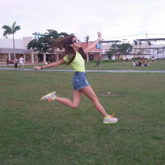 Yumi Yupangco - Classique Apparel Sunglasses, Aeropostale Neon Green Polo Shirt, My Pink Tiara High Waisted Shorts, Aeropostale Neon Green Socks, Nike Free - Carefree
