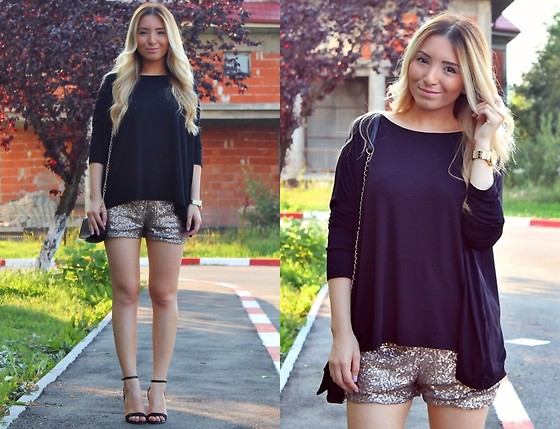 Andreea Ristea - Zara Sequin Golden Shorts, Bershka Mini Bag, Bershka Black Blouse - Glam summer look