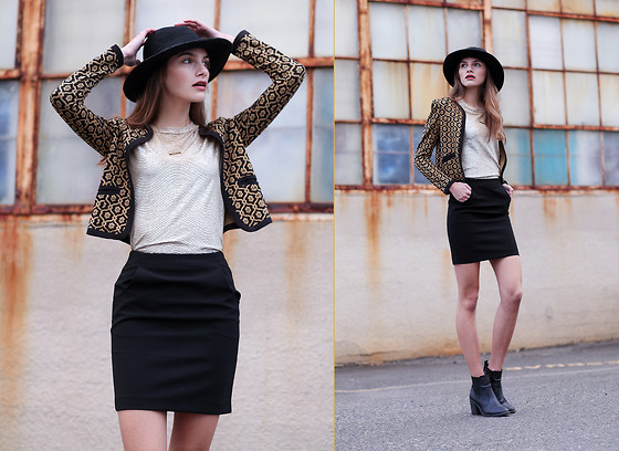 Emily - OuiiDistrict O|D Style - Forever Brimmed Hat In Black, Frenchi Matador Jacket, Lily White Blouse, H&M Black Skirt, H&M Black Heeled Booties - Get Me Golden