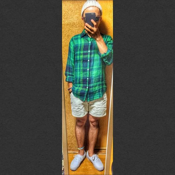 Keysyu Takagi - Global Work Cap, Global Work Shirt, Ocean Pacific Shorts, Vans Shoes, Global Work Sunglasses - Tomorrow outfit