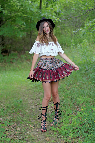 Alexis Kelly - Nordstrom Skirt, Steve Madden Sandals, Pacsun Crop Top, Urban Outfitters Necklace - Bohemian Dream