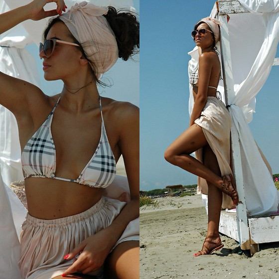 Fransi - Burberry Bikini, Atmosphere Skirt, Asos Sunglasses, Zara Sandals - Nude for summer