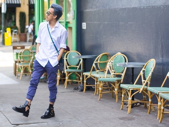 Brandon Tran - Zanerobe Pants, Balenciaga Boots - Simple white tee