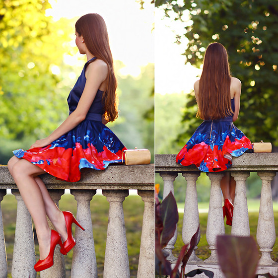 Ariadna Majewska - Sheinside Blue And Red Flared Dress, Toria Blanic Red Pumps, Tbdress A Little Gold Clutch - Azulgrana