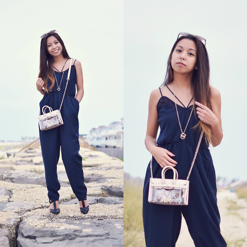 Melanie P. - Finders Keepers The Label Jumpsuit, Mohzy Bag - Transitioning into Fall with Jumpsuits