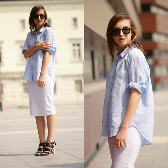 Daria R. - Cndirect White Midi Skirt - Baby blue shirt vol.3