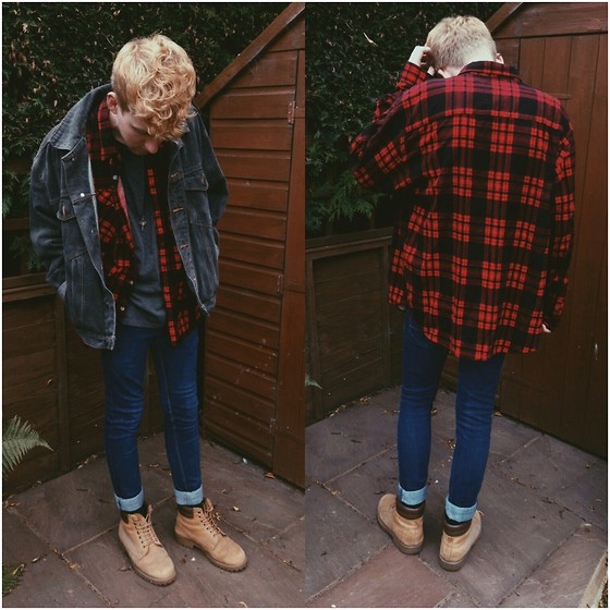 Robbie Cook - Vintage Check Shirt, River Island Jeans, Denim Jacket, Timberland Boots - Where did summer go?!
