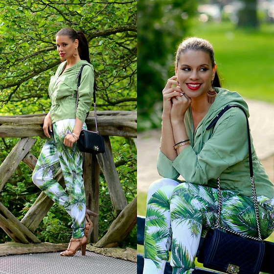 Tamara Chloe - Mr Gugu & Miss Go Joggers, Chanel Bag, Choies Jacket, Zara Heels - Palm Tree Joggers