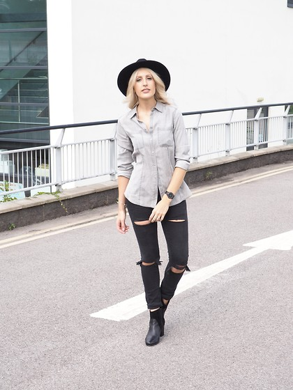 Charlotte Buttrick Lewis - Topman Black Ripped Skinny Jeans, Mint Velvet Grey Denim Shirt, Miss Selfridge Black Fedora, Clarks Adwych Boots - Ripped denim on denim & a fedora
