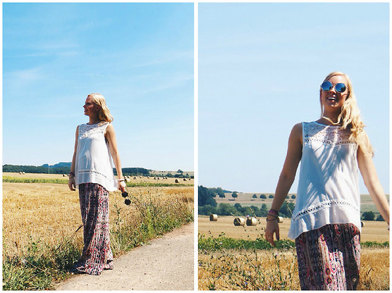 Signe Savant - New Dress White Lace Tank, Deb Print Palazzo Pants, Emblem Eyewear Round Silver Sunglasses - Life changes quickly...