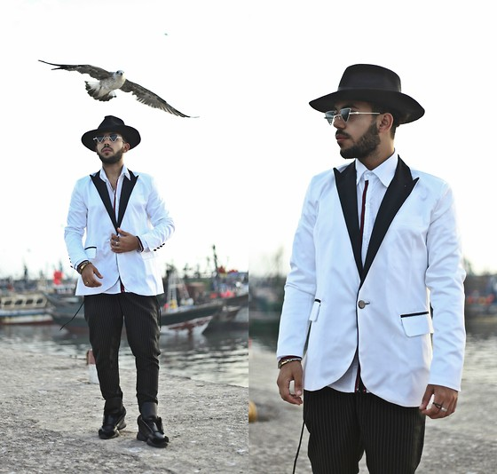 Khalil Alaoui - Smoky White Vest, Shirt, Fedora Hat - I Can Fly Better Than a Bird