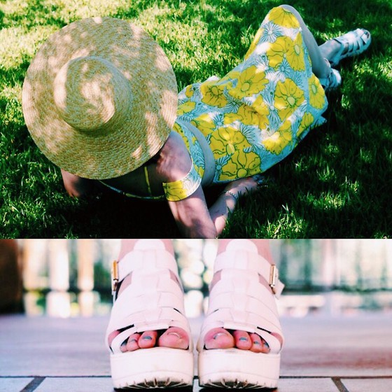 The Indie Girl Fleming - Boohoo Fisherman Sandals, Topshop Yellow Floral Skirt+ Top, J. Crew Summer Straw Hat - When Life Gives You Lemons