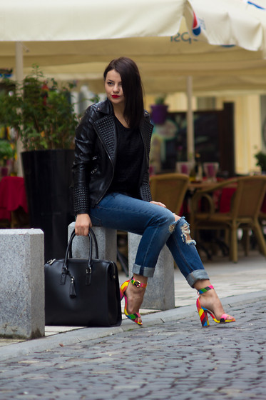 Kristina P. - Shein Jacket, Amiclubwear Sandals, Reserved Bag, Pull And Bear Jeans - Rainbow sandals