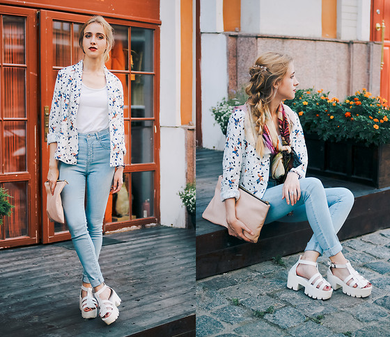 Anna Pogribnyak - Vevelle Scarf, Oasap Blazer, Irresistible Me Hair Accessory, Pull & Bear Jeans, Pull & Bear Clutch Bag - Make it brighter