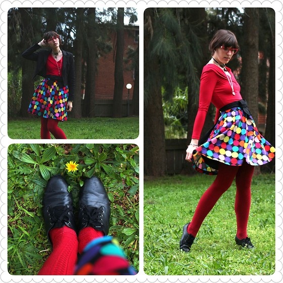 Jennifer Hankin - Review Red Shirt, Princess Highway Polka Dot Skirt, Sports Girl Red Tights - I want to join the circus