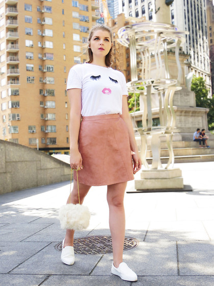 Julia - Sheinside T Shirt, Zara Skirt, Zara Bag, Zara Shoes - Eyelashes & pink blush