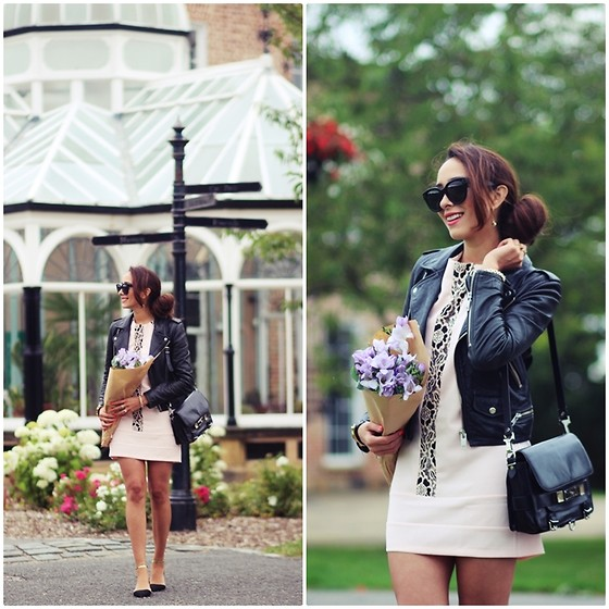 Virgit Canaz - Hedonia Dress, Proenza Schouler Bag Ps11, Mango Leather Jacket, Celine Sunglasses, Zara Flats - Maddie