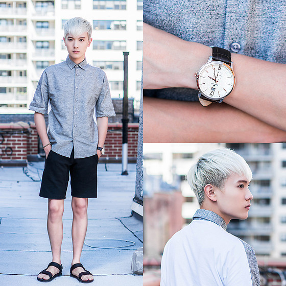 Dake Hu - Topman Shirt, Zara Shorts, Teva Sandals, René Mouris Watch - New York, New York.