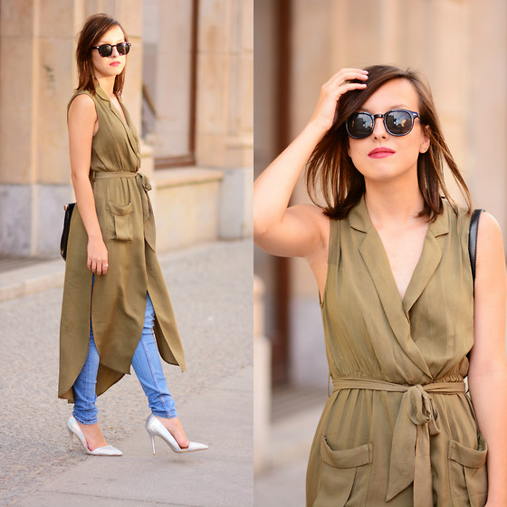 Daria R. - Sheinside Wrap Dress - Khaki wrap dress, blue jeans and hologram heels