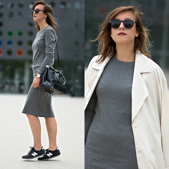 Daria R. - Persunmall Long Sleeve Basic Gray Dress - Grey long sleeve basic dress and trench