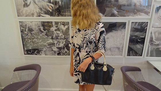 Sydney L. - Kate Spade Satchel, Topshop Leaf Print Dress - Leaf Print + Satchel