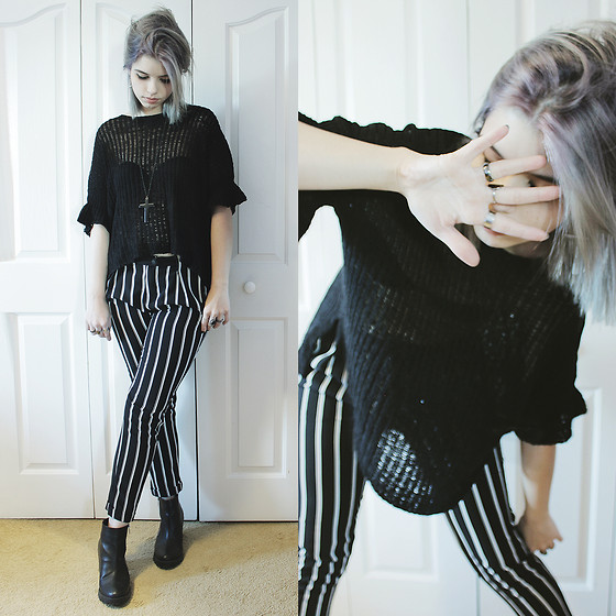 Lidia Zuin - Shein Black Knitted Sweater, Forever 21 Black Cross Necklace, Zara Black Striped Pants, Office Black Chunky Boots - You dance in circles around me