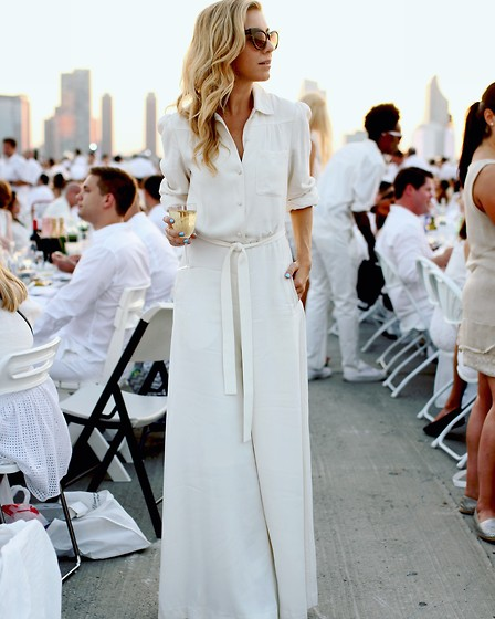 Ashley - Reiss White Crepe Jumpsuit, Preen Cat Eye Sunnies - Lady in White