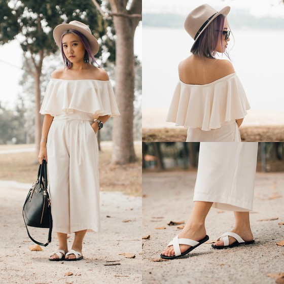 Sebelle Sharmine - Montifs Ruffle Off Shoulder Top, A For Arcade White Culottes, Blackout Sg Cross Sandals, Rubi Felt Fedora, Valentino Rudy Leather Handbag - Ruffled, Not Fallen